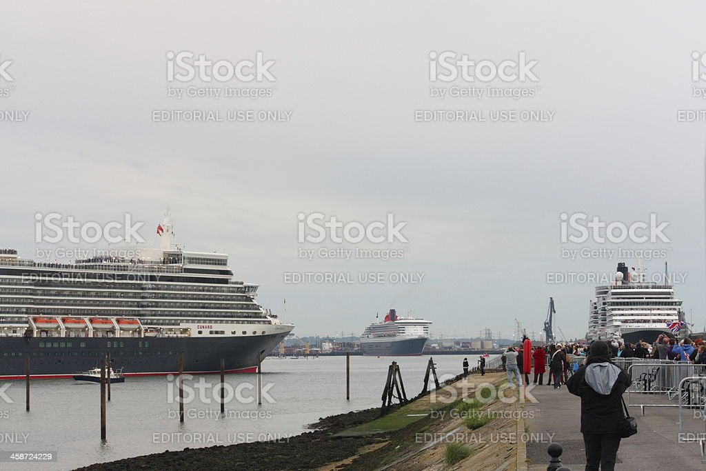 Visit of Three Cunard Queens to Southampton stock photo