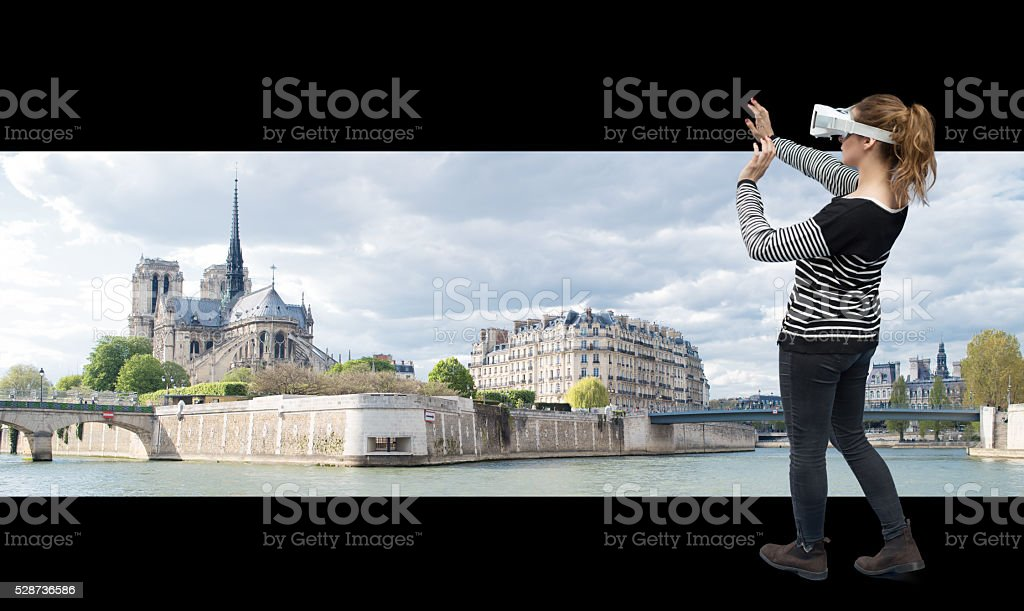 Visit Paris through virtual reality stock photo