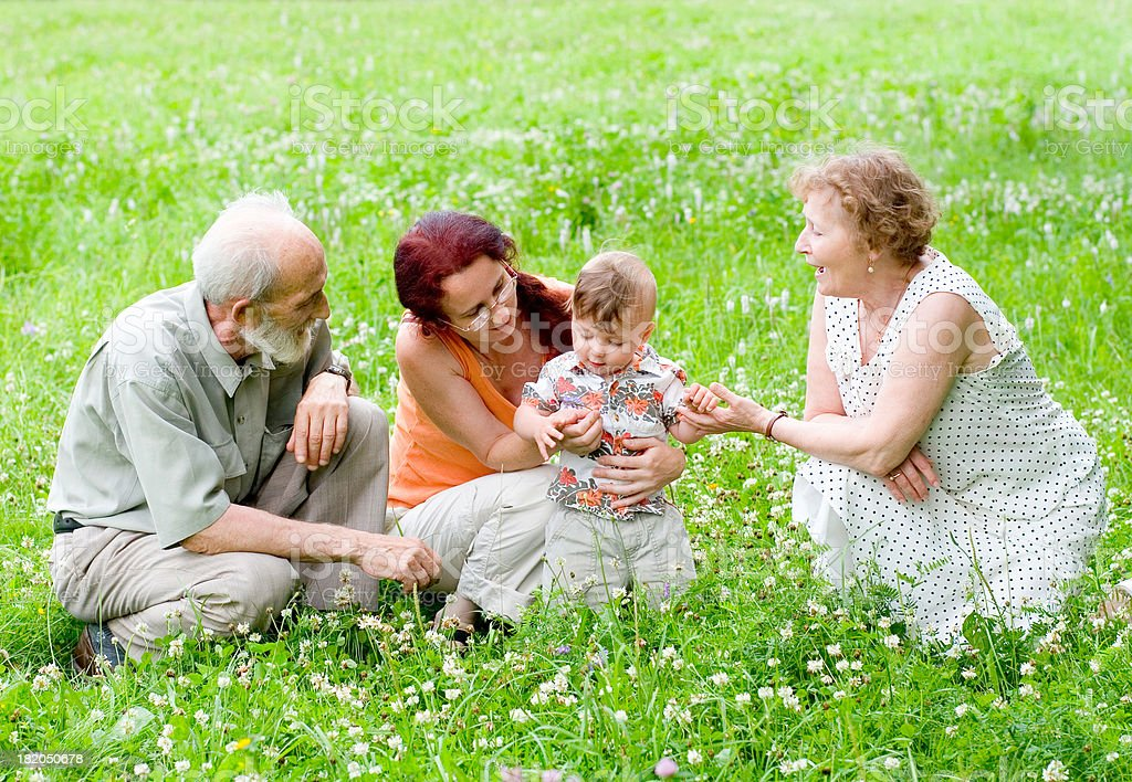 Visit to grandparents royalty-free stock photo