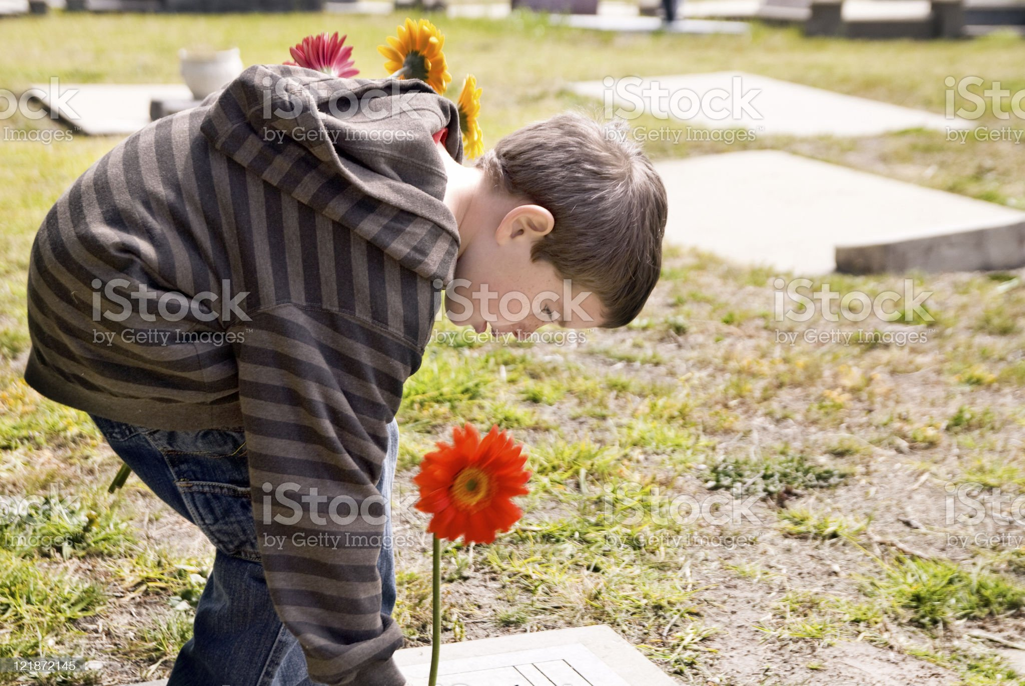 Visiting a Grave royalty-free stock photo