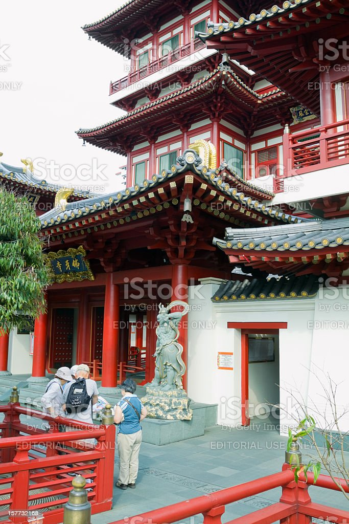 Visiting Buddha Tooth Relic Temple in Singapore stock photo