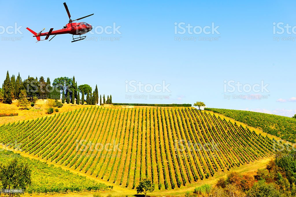 Visiting Chianti Region by Helicopter stock photo