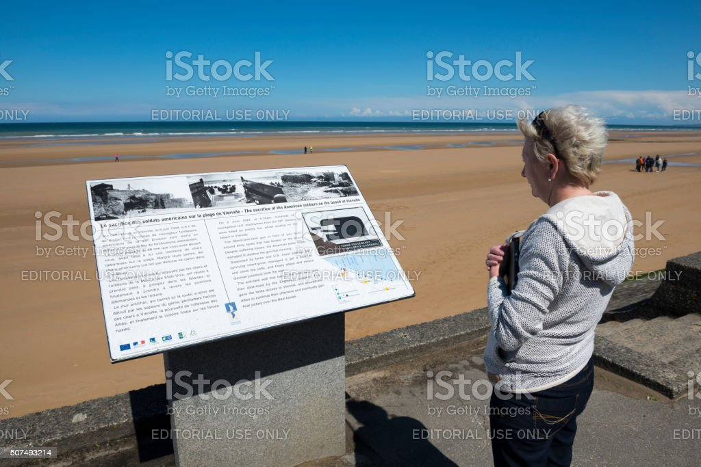 Visiting D-Day landing beach in Normandy, France stock photo