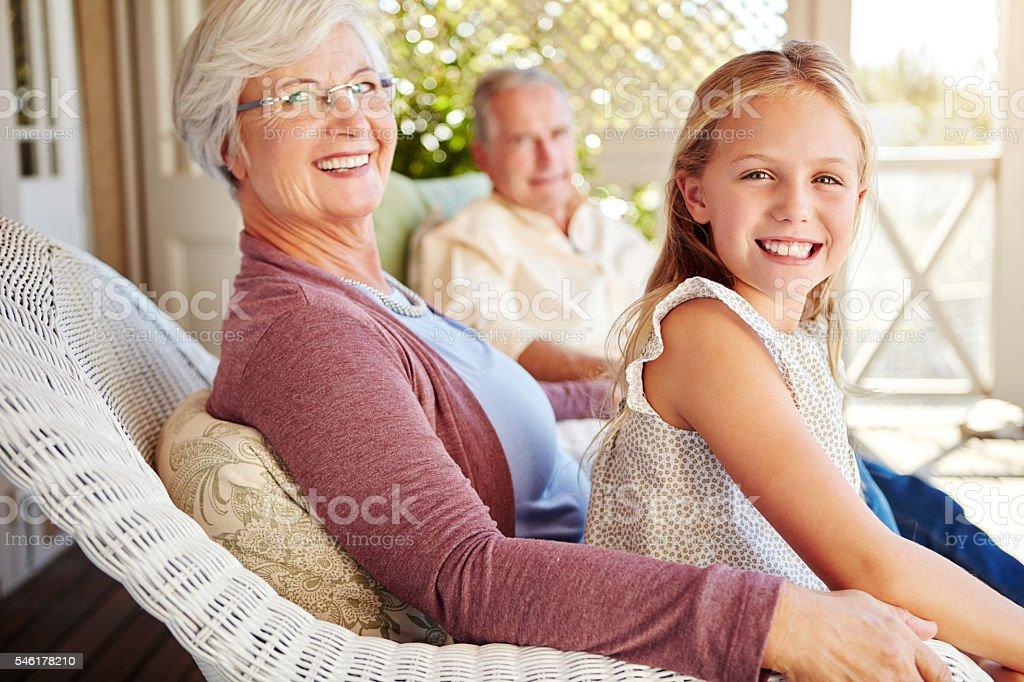 Visiting granny and grandpa stock photo