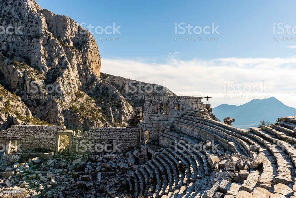 Visiting Ruins of Termessos town in Turkey stock photo