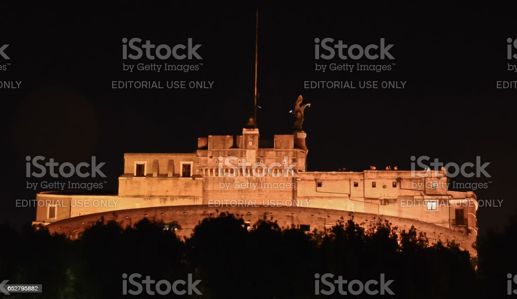 ROME, ITALY - JULY 12, 2013. Visiting San Angelo Castle at night stock photo