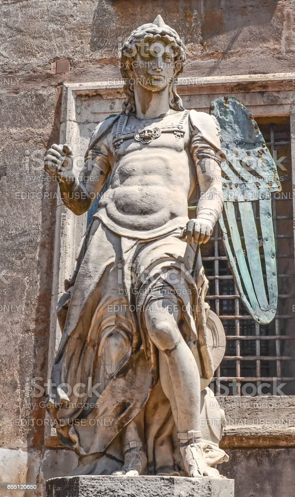 ROME, ITALY - JULY12, 2013. Visiting San Angelo Statue from the Castel San Angelo stock photo