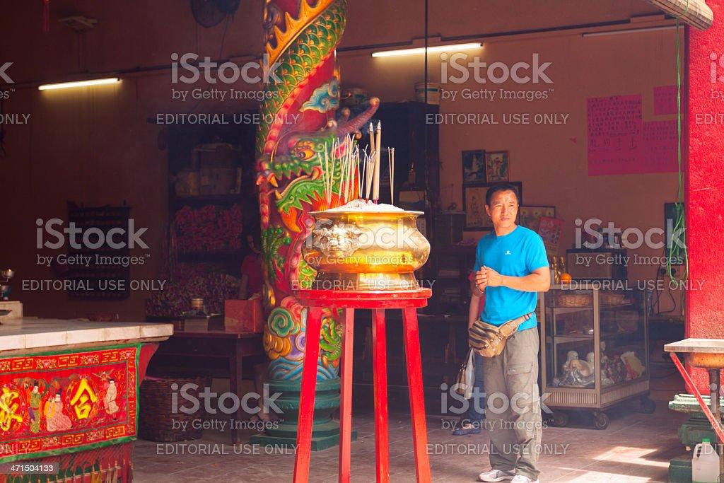 Visiting Taoist Kuan Ti temple royalty-free stock photo