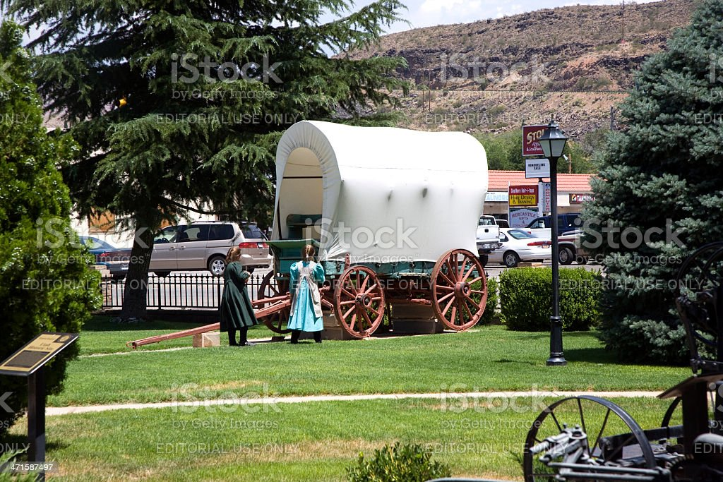 visiting the Museum of Hurricane with an old covered waggon royalty-free stock photo