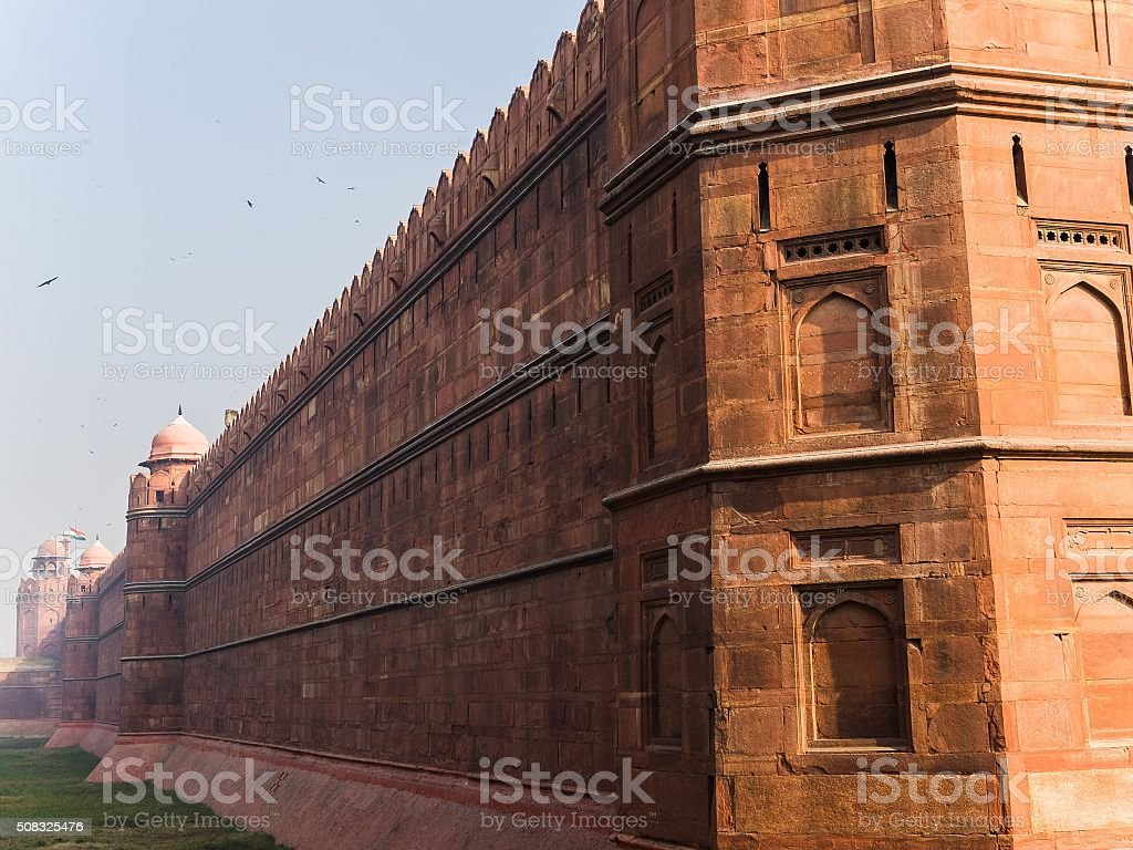 visiting the red fort in Delhi stock photo