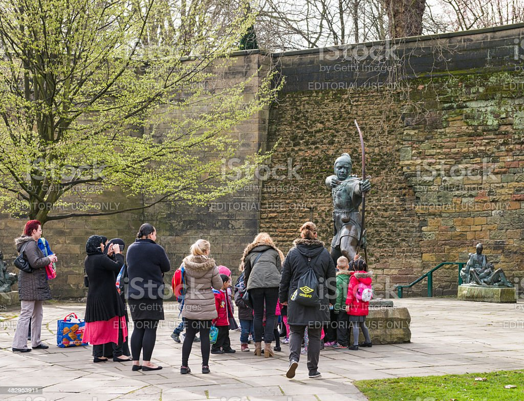 Visiting the Robin Hood statue in Nottingham stock photo