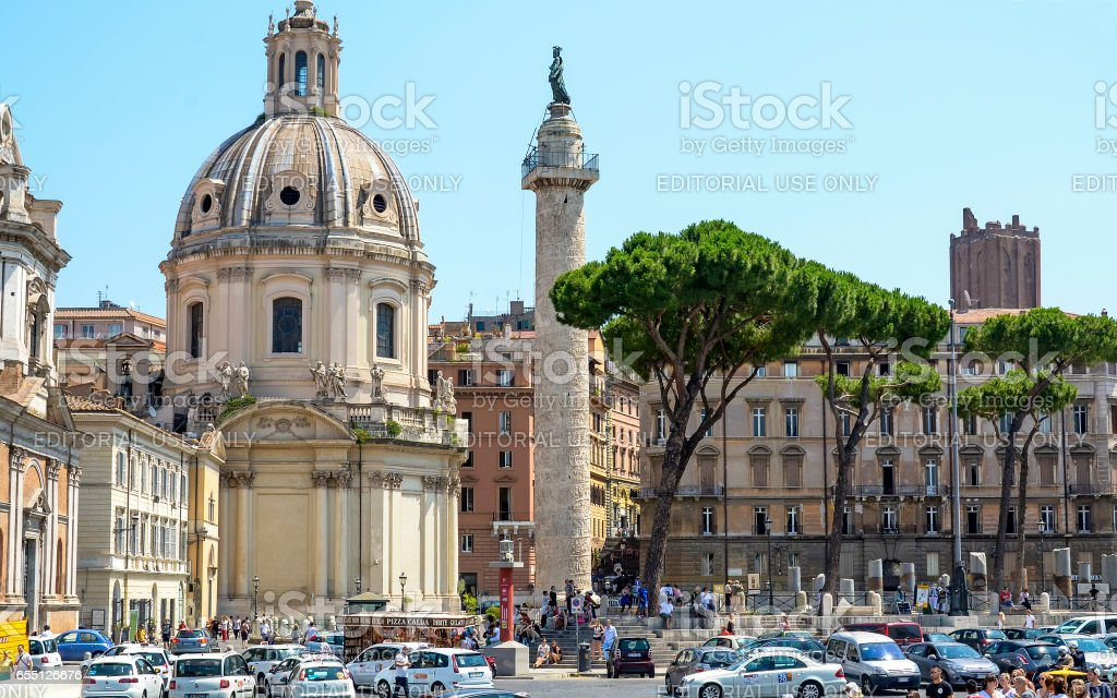 ROME, ITALY - JULY 12, 2013. Visiting the Trajan Forum and the Column of Trajan stock photo