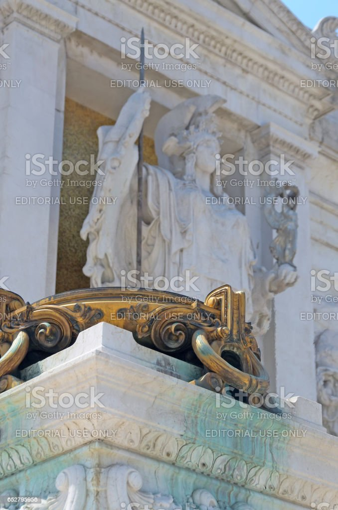 ROME, ITALY - JULY 12, 2013. Visiting the Venezia Square. Detail of Victor Emanuel II Monument stock photo