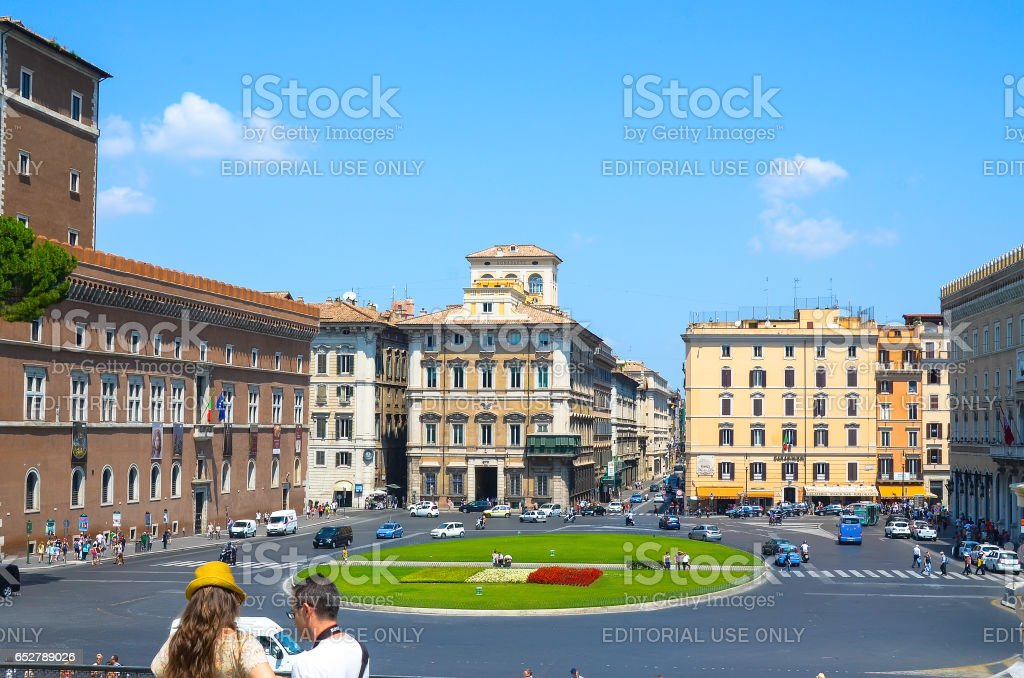 ROME, ITALY - JULY 12, 2013. Visiting the Venezia Square. stock photo