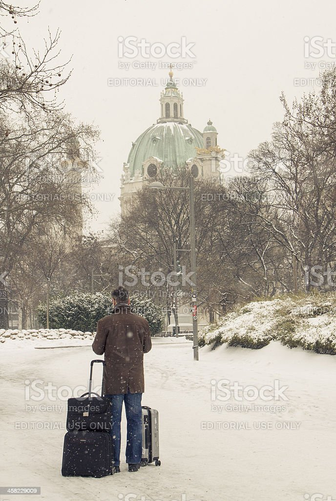 Visiting Vienna in the snow stock photo