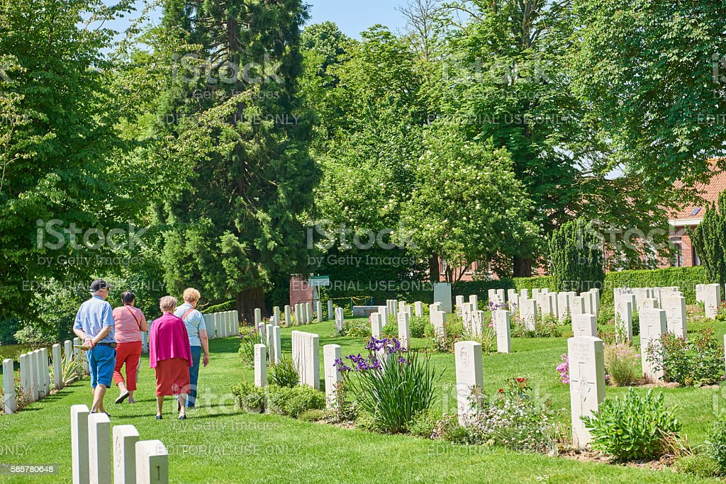 Visiting War Cemetery in Belgium stock photo