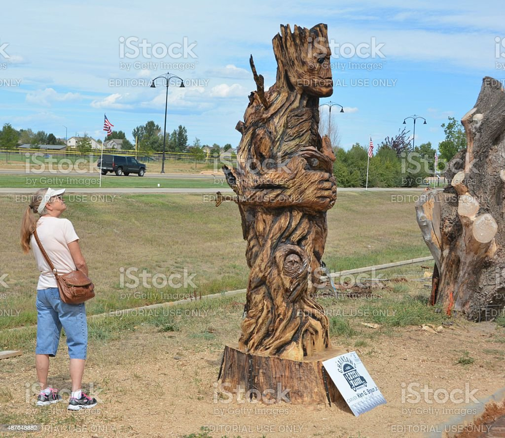 Visitor admiring a Sculpture stock photo
