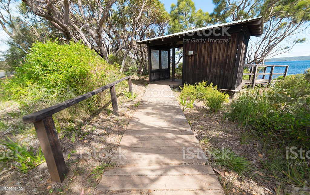 visitor information small wooden house on Coalmine Beach , Walpole ,Australia stock photo