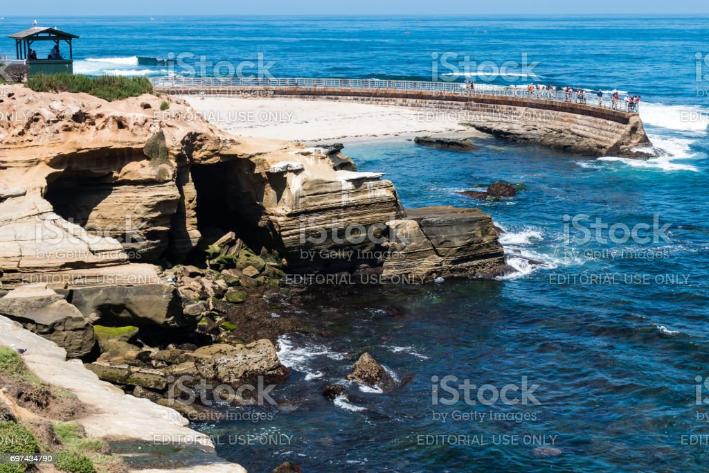Visitor Observation Point at La Jolla Children's Pool stock photo