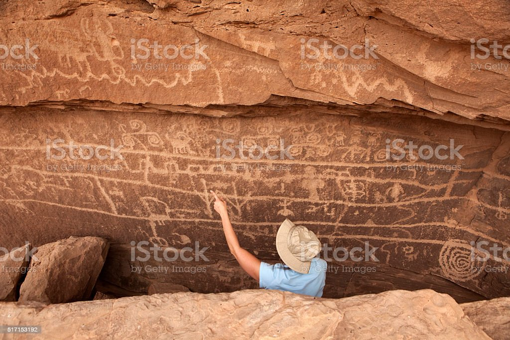 Visitor petroglyph wall Canyon of the Ancients National Monument Colorado stock photo