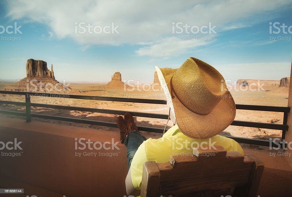 Visitor Tourist Enjoying Hotel View in Monument Valley National Park stock photo