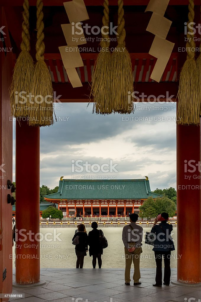 Visitors admired the beauty of Heian Shrine stock photo