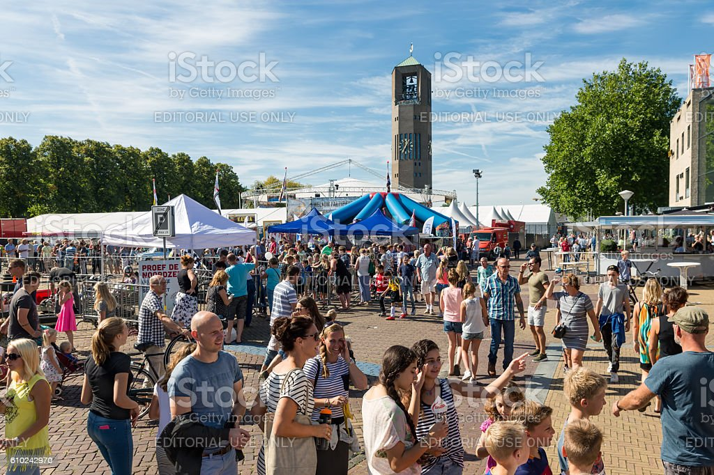 Visitors at an agricultural potato festival in Emmeloord, the Netherlands stock photo