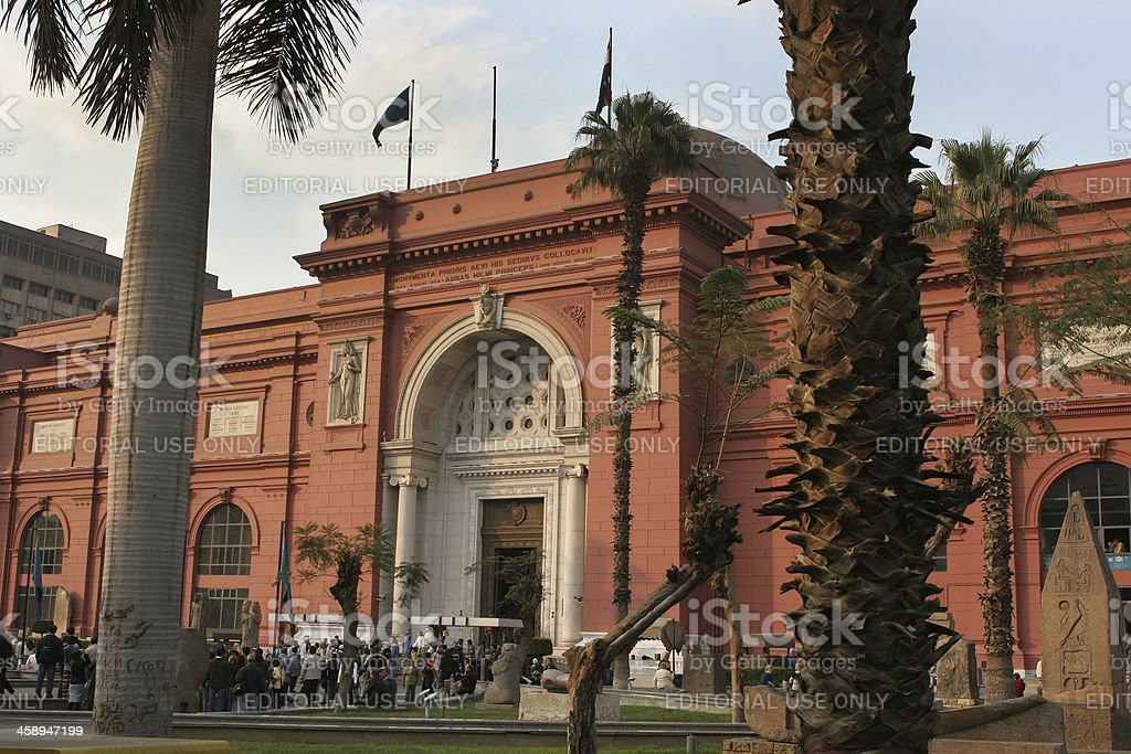 Visitors at Egyptian Museum in Cairo Egypt royalty-free stock photo