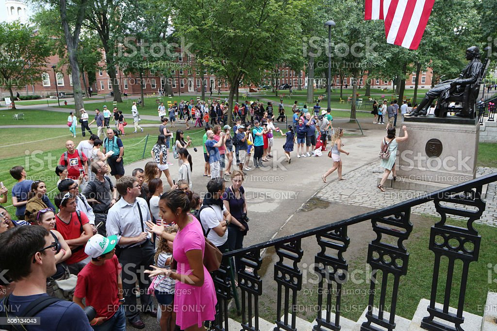Visitors at Harvard University stock photo