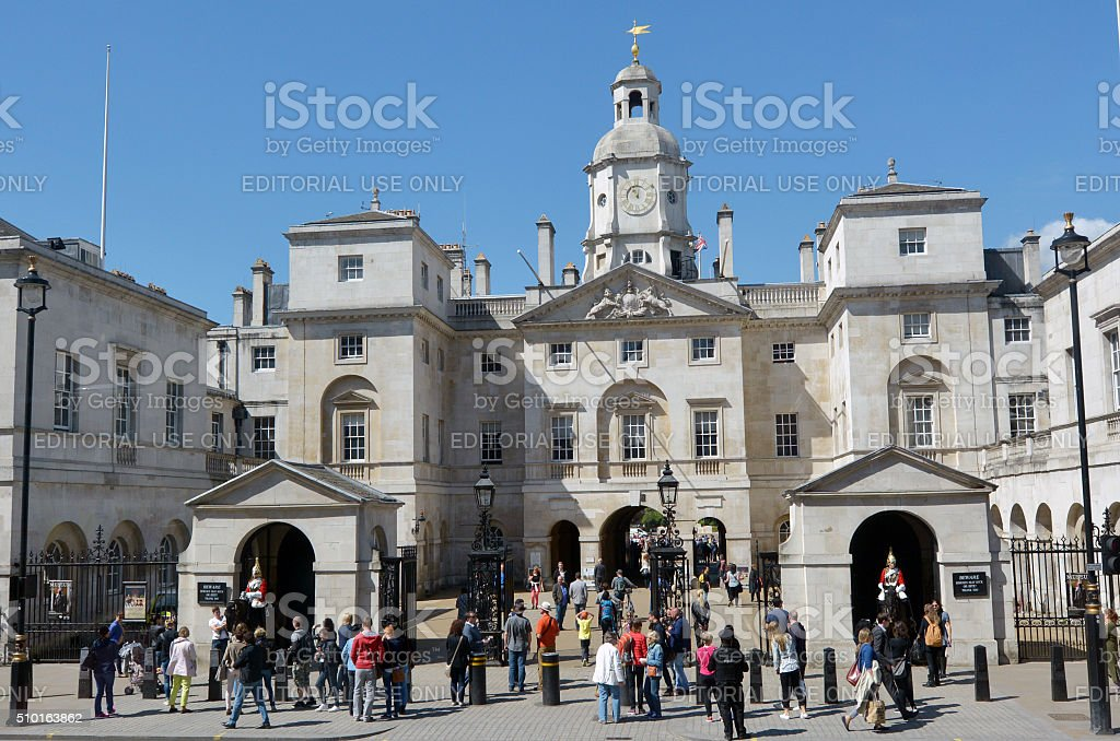 Visitors at Horse Guards building London UK stock photo