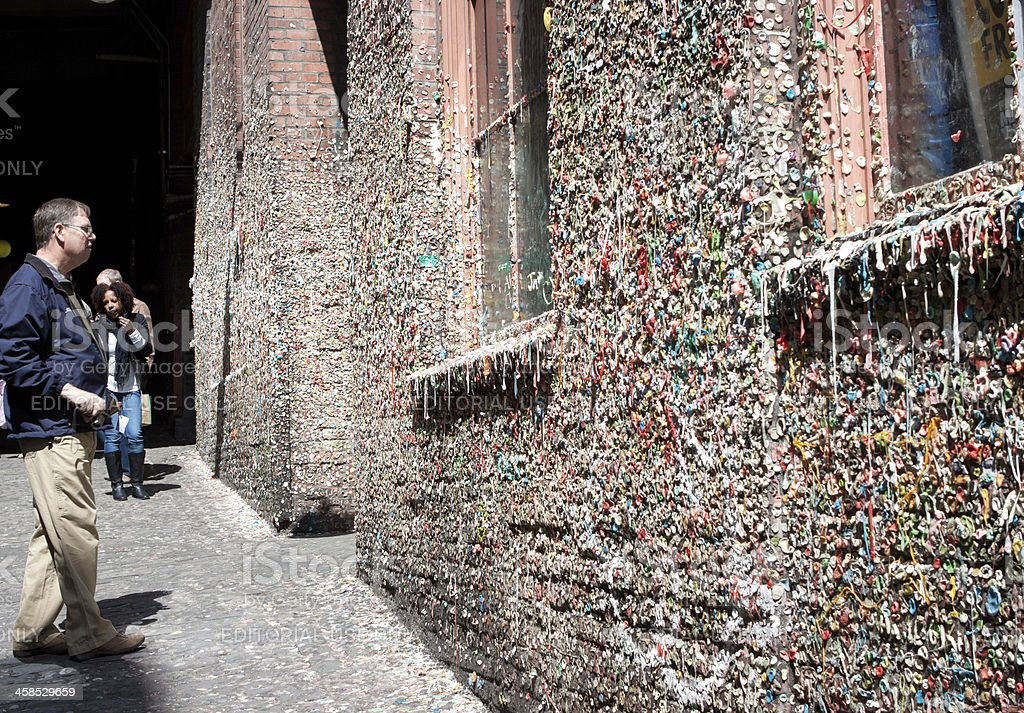 Visitors At Pike Place Gum Wall stock photo