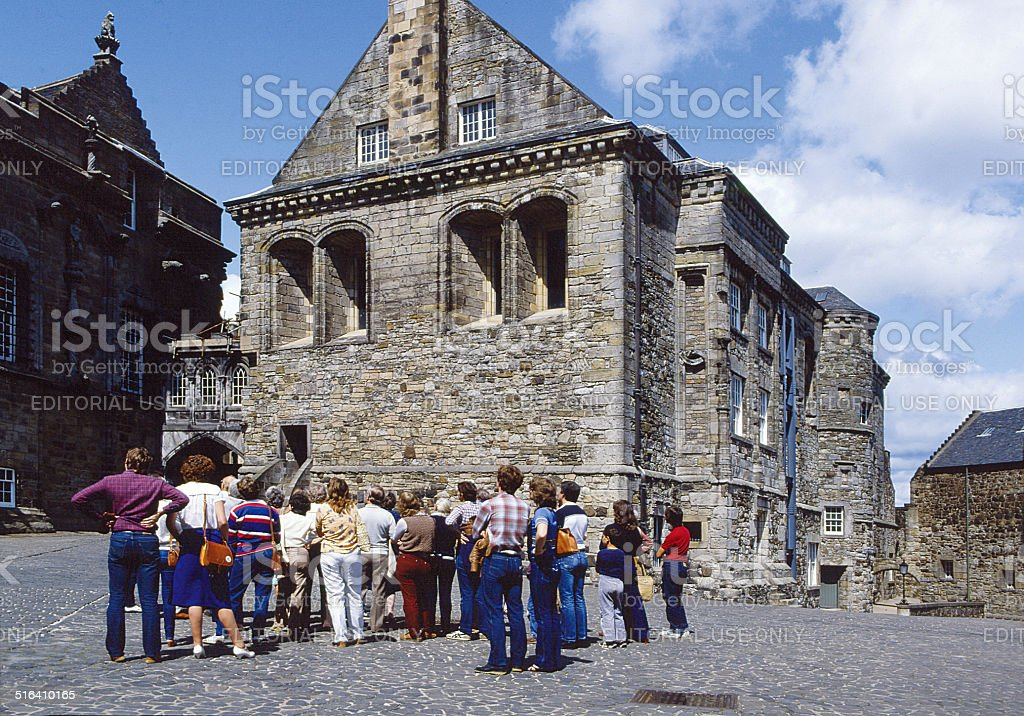 Visitors at Stirling Castle, Scotland stock photo