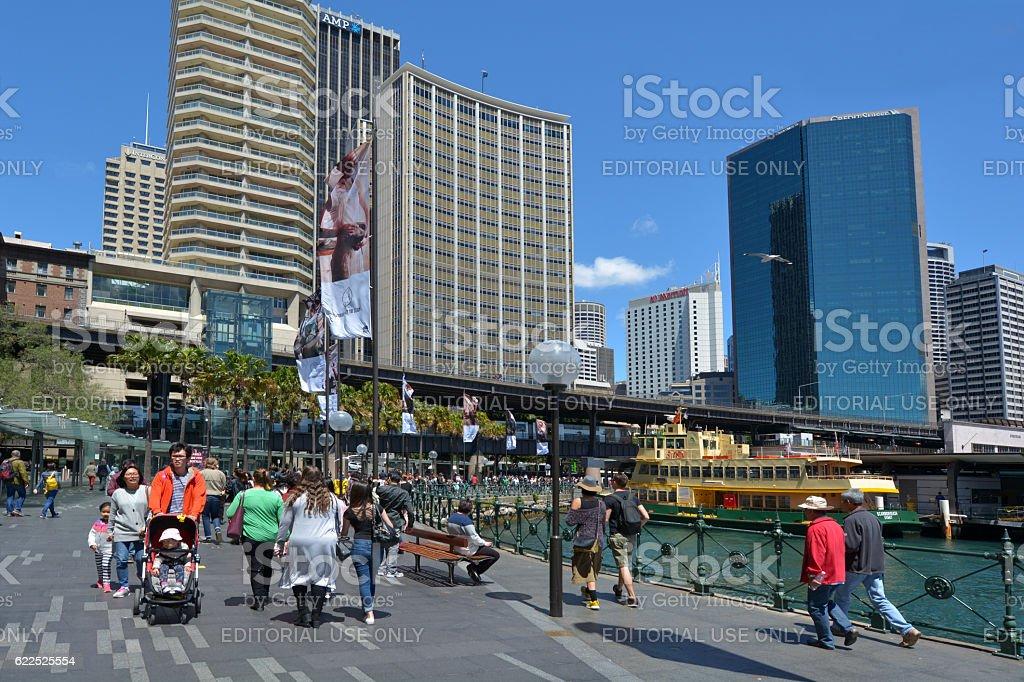 Visitors at Sydney Circular Quay Sydney New South Wales Australia stock photo
