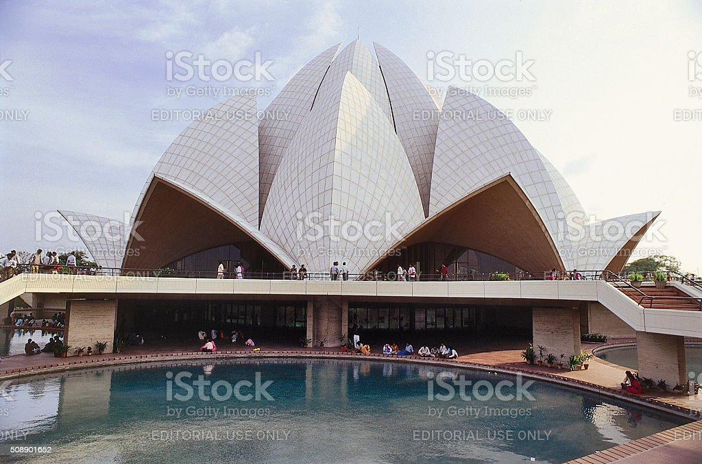 Visitors at The Lotus Temple stock photo