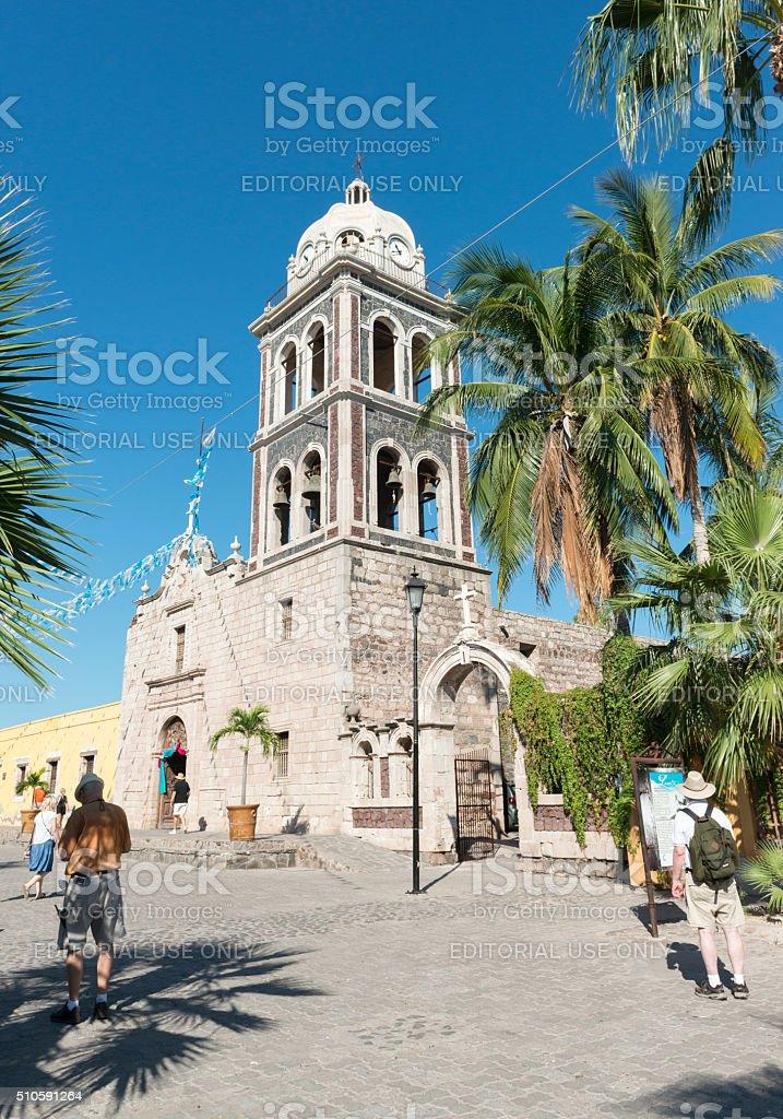Visitors at the mission Nuestra Senora de Loreto stock photo