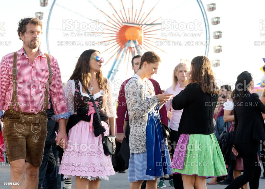 Visitors at the Oktoberfest in munich stock photo