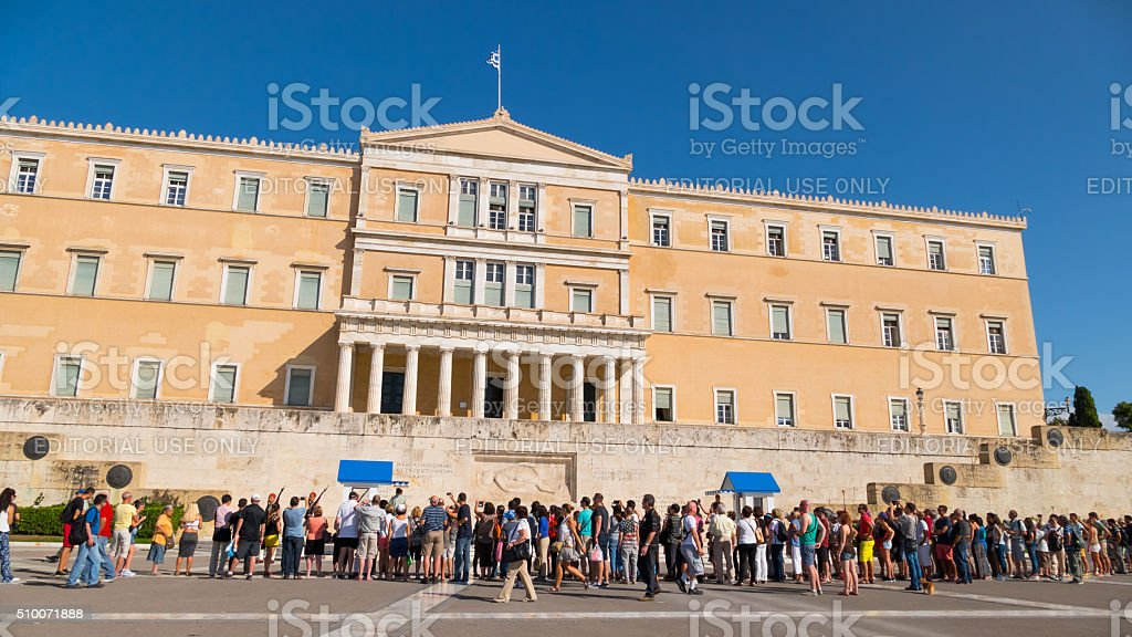 Visitors at the Parliament in Athens, Greece stock photo