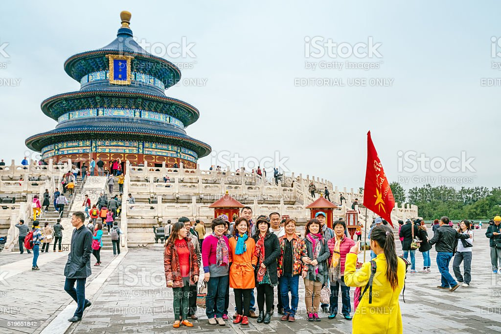 Visitors at the Temple of Heaven in Beijing, China stock photo