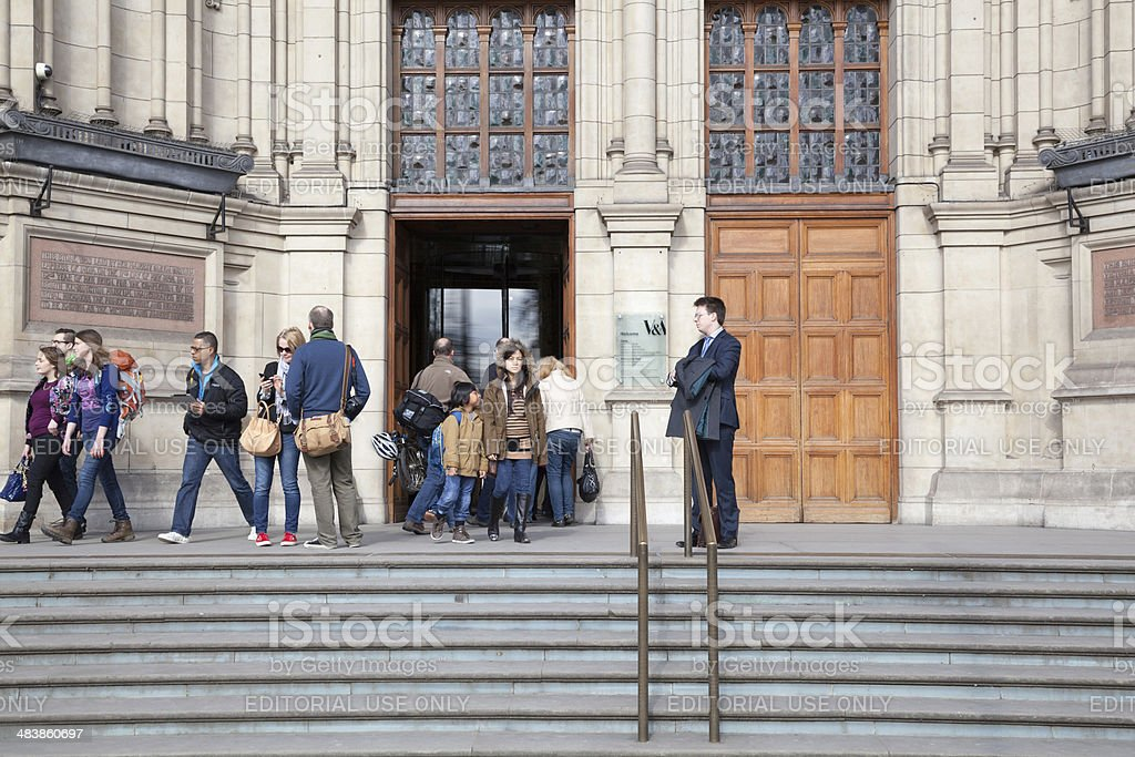 visitors at the Victoria and Albert Museum London stock photo