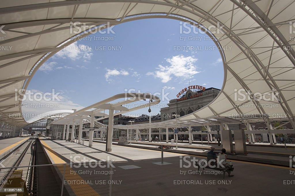 Visitors at Union Station Denver Colorado stock photo
