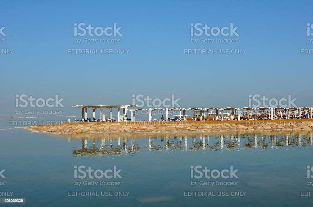 Visitors in Ein Bokek Resort at the Dead Sea, Israel stock photo