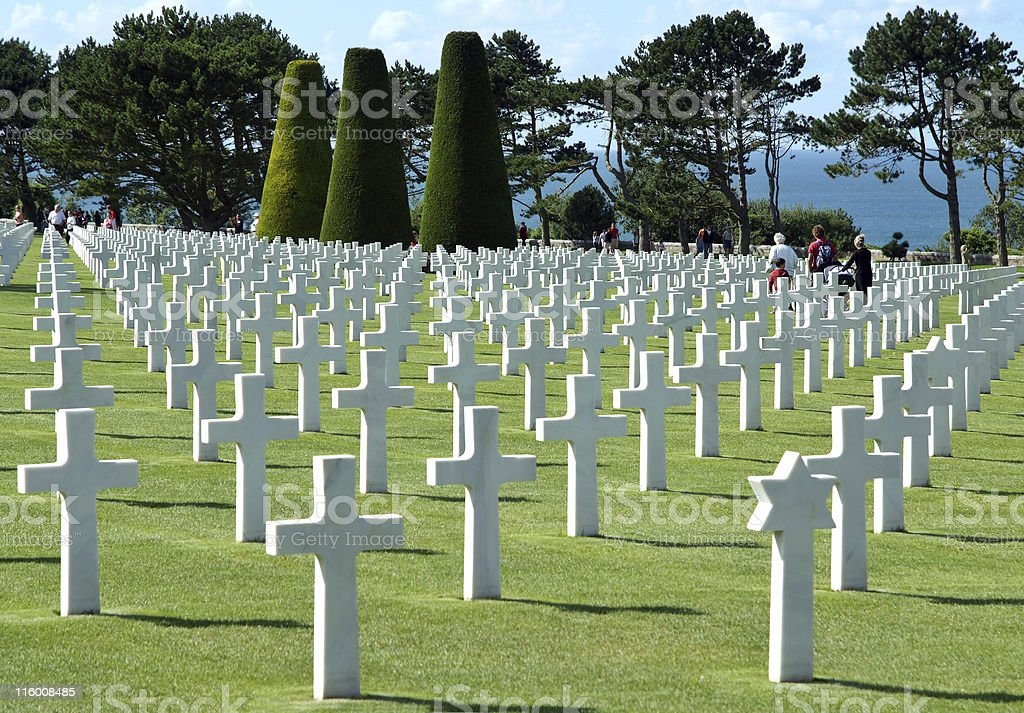 Visitors in Normandy american cemetery stock photo
