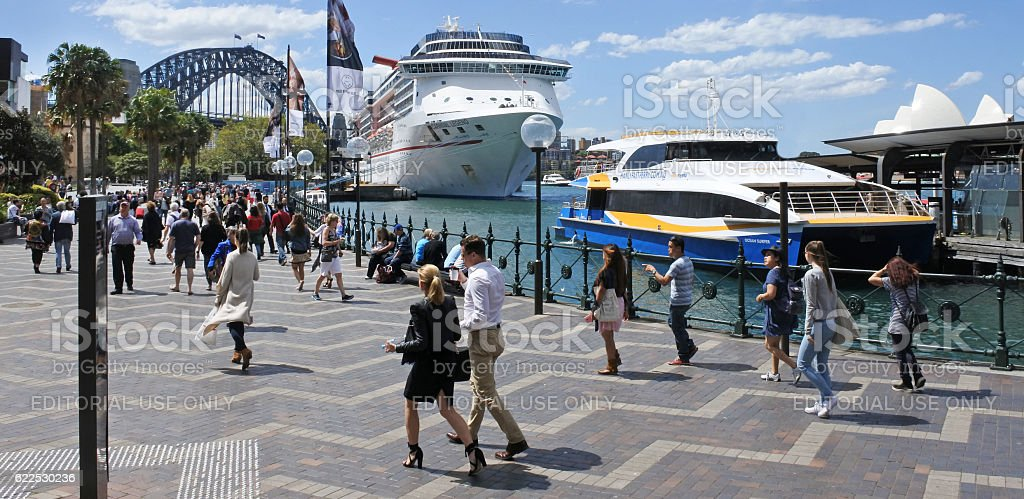 Visitors in Sydney Circular Quay Sydney New South Wales Australia stock photo