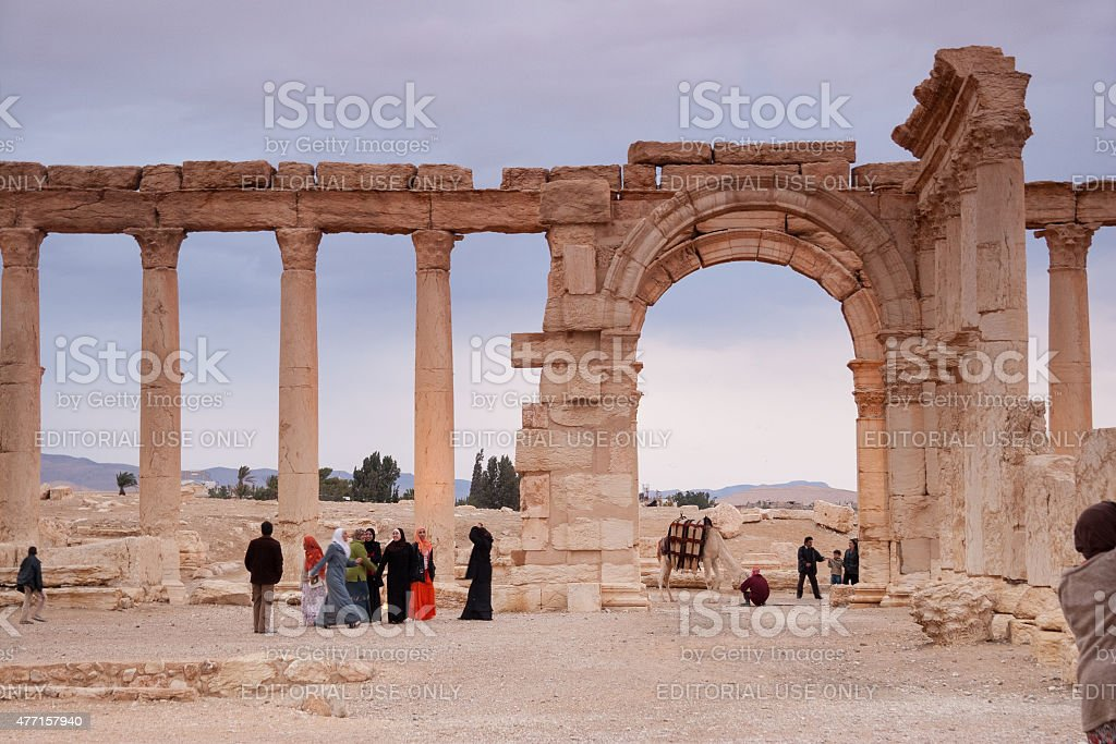 Visitors in the ancient city of Palmyra, Syria stock photo