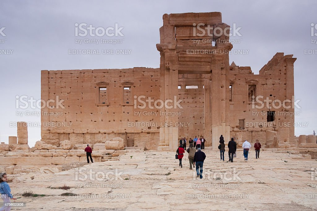 Visitors in the Ruins of ancient city of Palmyra, Syria stock photo
