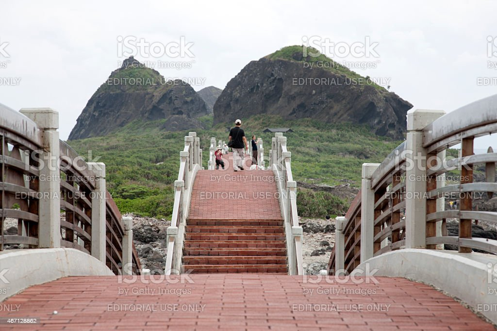 Visitors on Sansiantai Dragon Bridge to Sanxiantai Island, Taitung, Taiwan stock photo