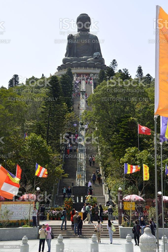 Visitors sightseeing Tian Tan Buddha in Lantau island, Hong Kong stock photo