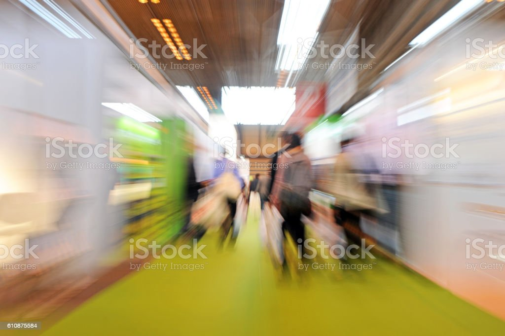 Visitors to a Tradeshow (zoom blur) stock photo