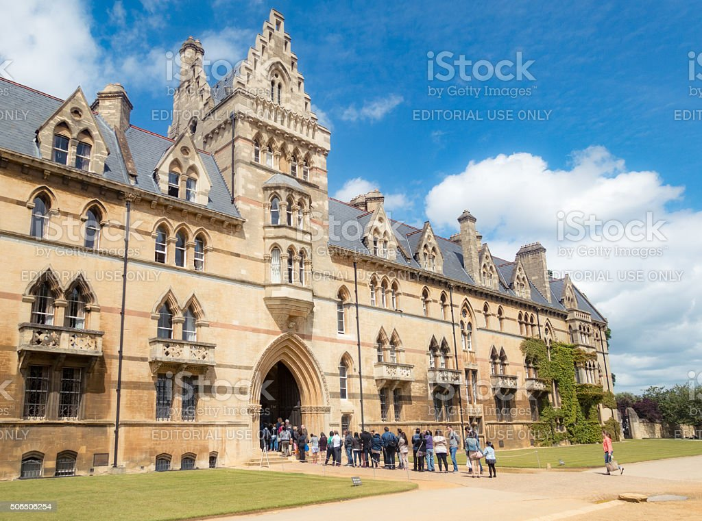 Visitors to Christ Church College in Oxford, England stock photo