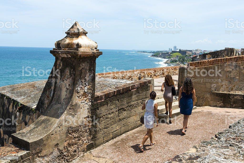 Visitors to El Morro in Puerto Rico stock photo